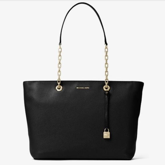 Michael Kors Handbags - Michael Kors Studio Mercer Chain-Link Leather Tote